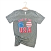 Born In The USA Vintage Boyfriend t shirt. Southern boutique wholesale graphic tee clothing by Pink Armadillos. Printed on our super soft Bella Canvas tees