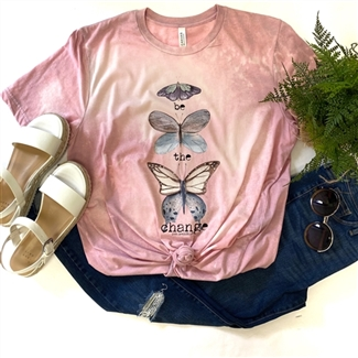 Be The Change Butterfly boutique wholesale graphic tee by Pink Armadillos