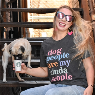 Dog People Are My Kinda People t shirt. Southern boutique wholesale graphic tee clothing by Pink Armadillos. Printed on our super soft Bella Canvas tees.