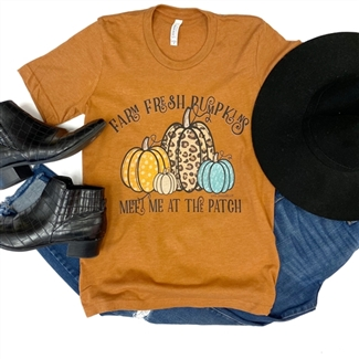 Farm Fresh Pumpkins t shirt. Southern boutique wholesale graphic tee clothing by Pink Armadillos. Printed on our super soft Bella Canvas tees.