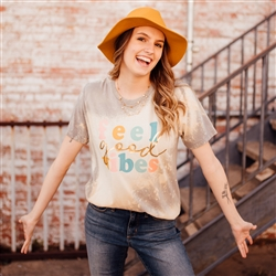 Feel Good Vibes T shirt Southern boutique wholesale graphic tee clothing by Pink Armadillos. Printed on our super soft Bella Canvas tees.