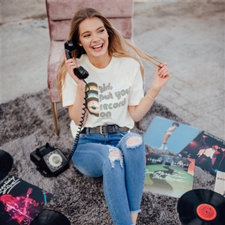 Girl, Put Your Records On T shirt Southern boutique wholesale graphic tee clothing by Pink Armadillos. Printed on our super soft Bella Canvas tees.