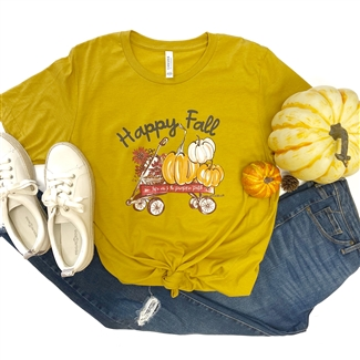Happy Fall Wagon t shirt. Southern boutique wholesale graphic tee clothing by Pink Armadillos. Printed on our super soft Bella Canvas tees.