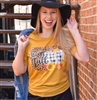 Happy Fall with pumpkins t shirt. Southern boutique wholesale graphic tee clothing by Pink Armadillos. Printed on our super soft Bella Canvas tees.