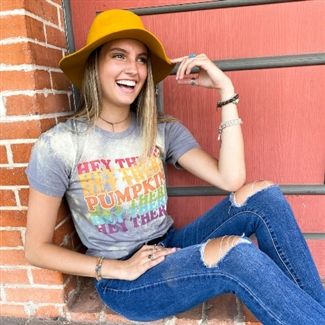Hey There Pumpkin t shirt. Southern boutique wholesale graphic tee clothing by Pink Armadillos. Printed on our super soft Bella Canvas tees.