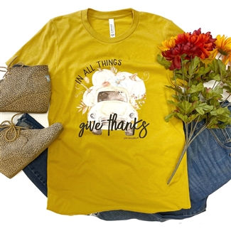 In All Things Give Thanks t shirt. Southern boutique wholesale graphic tee clothing by Pink Armadillos. Printed on our super soft Bella Canvas tees.