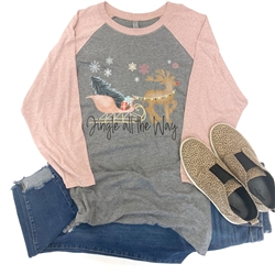 Jingle All The Way southern boutique wholesale graphic tee clothing by Pink Armadillos. Printed on our super soft Bella Canvas tees.