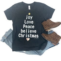 Joy Love Peace Believe Christmas Toddler t shirt. Southern boutique wholesale graphic tee clothing by Pink Armadillos. Printed on our super soft Bella Canvas tees.