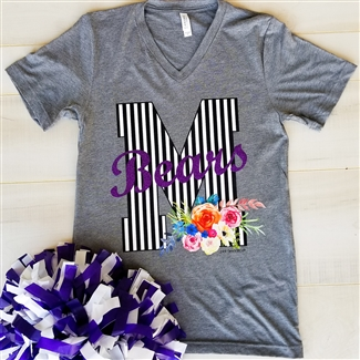 This super cute Football tee can be customized with Your City's Initial and your teams mascot in glitter by Pink Armadillos!