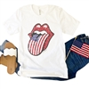 American Flag Lips t-shirt. Southern boutique wholesale graphic tee clothing by Pink Armadillos. Printed on our super soft Bella Canvas tees.