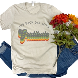Live Each Day With Gratitude t shirt. Southern boutique wholesale graphic tee clothing by Pink Armadillos. Printed on our super soft Bella Canvas tees.