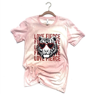 Fierce Love Love Fierce Tiger t shirt. Southern boutique wholesale graphic tee clothing by Pink Armadillos. Printed on our super soft Bella Canvas tees.