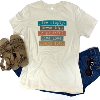 Live Simply Dream Big boutique wholesale graphic tee by Pink Armadillos