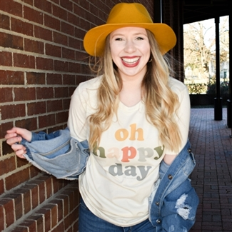 Oh Happy Day t shirt. Southern boutique wholesale graphic tee clothing by Pink Armadillos. Printed on our super soft Bella Canvas tees.