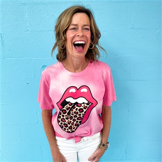 Pink Cheetah Lips boutique wholesale graphic tee by Pink Armadillos