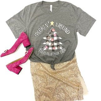 Rockin' Around The Christmas Tree southern boutique wholesale graphic tee clothing by Pink Armadillos. Printed on our super soft Bella Canvas tees.