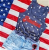America Stars Racerback Tank.  Southern boutique wholesale graphic tee clothing by Pink Armadillos. Printed on our super soft Bella Canvas tees.