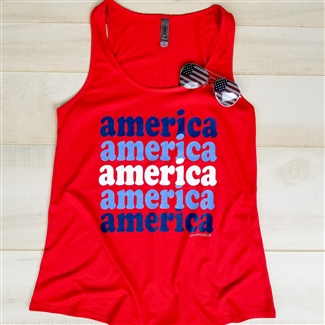 Retro America Flowy Tank boutique wholesale graphic tee by Pink Armadillos