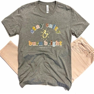 Stay Salty & burn bright t-shirt. Southern boutique wholesale graphic tee clothing by Pink Armadillos. Printed on our super soft Bella Canvas tees.