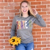 So Very Grateful long sleeve t shirt. Southern boutique wholesale graphic tee clothing by Pink Armadillos. Printed on our super soft Bella Canvas tees.
