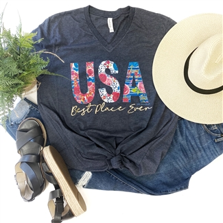 USA The Best Place Ever boutique wholesale graphic tee by Pink Armadillos