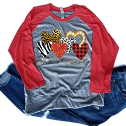 Wild at Heart Baseball t shirt. Southern boutique wholesale graphic tee clothing by Pink Armadillos. Printed on our super soft Bella Canvas tees.