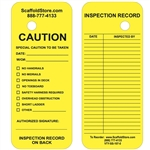 OSHA Scaffold Tag - Yellow