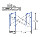 3'W x 6' 4''T x 7'L Walk-Thru Scaffold Frame Set