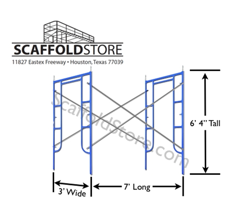 3\'W x 6\' 4\'\'T x 7\'L Walk-Thru Scaffold Frame Set