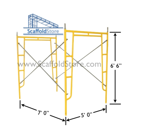 5\'W x 6\' 6\'T x 7\'L Walk-Thru Scaffold Frame Set