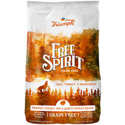 TRIUMPH FREE SPIRIT GRAIN FREE DEBONED TURKEY, PEA & SWEET POTATO GRAIN FREE 26 LB  UPC 073657390206