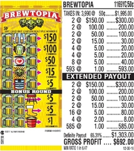 $150 TOP - Form # 1169YC Brewtopia 50 Cent Ticket