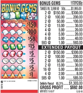 $150 TOP - Form # 1170YC Bonus Gems 50 Cent Ticket