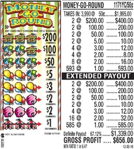 $200 TOP - Form # 1171YC Money-G0-Round 50 Cent Ticket