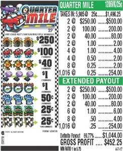 $250 TOP - Form # 1206VK Quarter Mile 25 Cent Ticket