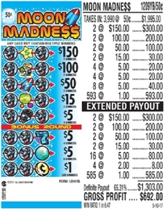 $150 TOP - Form # 1209YB Moon Madness 50 Cent Ticket