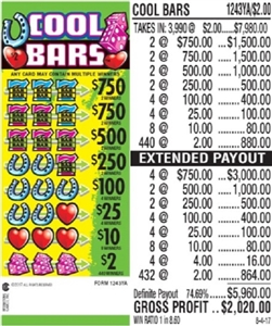 $750 TOP - Form # 1243YA Cool Bars $2.00 Ticket