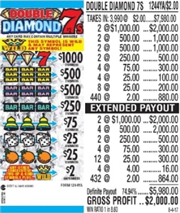 *$1000 TOP - Form # 1244YA Double Diamond 7's $2.00 Ticket