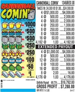 High Count $1000 TOP - Form # 1246UR Cannonball Comin' $1.00 Ticket