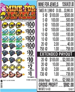 $100 TOP - Form # 1259UK Mine For Jewels $1.00 Ticket