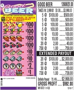 $100 TOP - Form # 1260UK Good Beer $1.00 Ticket