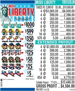 *$1000 TOP - Form # 1282US Miss Liberty $5.00 Ticket