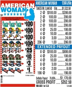 $100 TOP - Form # 1286VJ American Woman 50 Cent Ticket