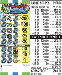 $200 TOP - Form # 1289YH Racing Stripes 50 Cent Ticket
