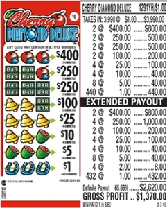 $400 TOP - Form # 1291YH Cherry Diamond Deluxe $1.00 Ticket