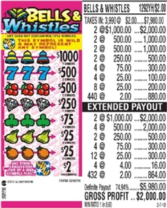 *$1000 TOP - Form # 1292YH Bells & Whistles $2.00 Ticket