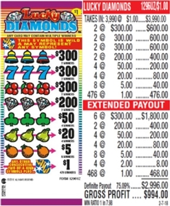 $300 TOP - Form # 1296UZ Lucky Diamonds $1.00 Ticket