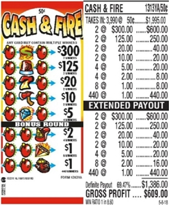 $300 TOP - Form # 1313YA Cash & Fire 50 Cent Ticket