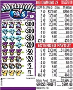 $300 TOP - Form # 1315UZ Big Diamond 7s $1.00 Ticket