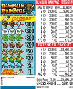 $300 TOP - Form # 1316UZ Rumblin' Rampage $1.00 Ticket